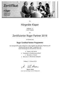 Zertifizierter Roger Partner 2019